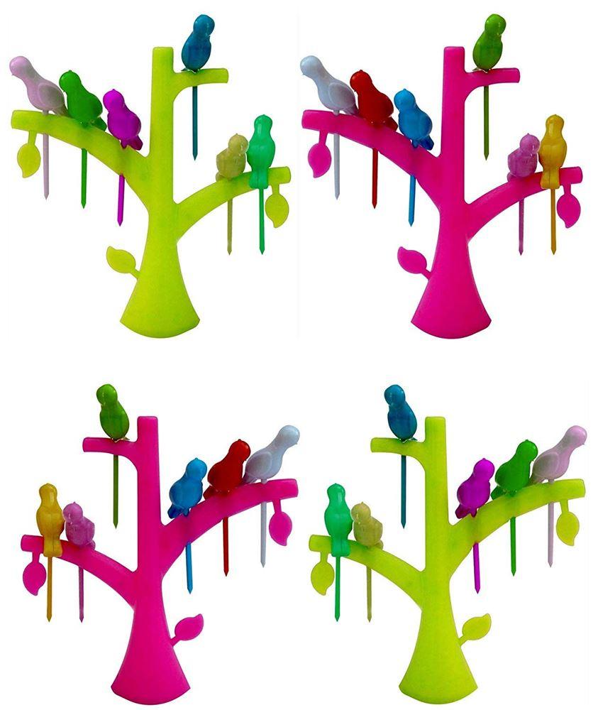Multicolor Pack of 4 Plastic Bird Fruit Fork