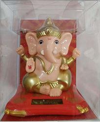 Indian Wall Solar Ganesh for Home Office and Car Decor | Ganpati Bappa | Solar Lord Ganesh ji Moving Hands (10cm x 10cm x 12cm)