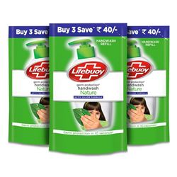 Lifebuoy Nature Germ Protection Handwash Refill, 185 ml (Pack of 3)