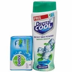 Dermi COOL PRICKLY HEAT POWDER SOOTHING LAVNDER (Free Dettol Soap 125 g) 150 g