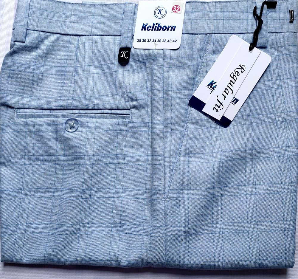 Men Regular Fit Sky blue Checked Formal Trousers size 32