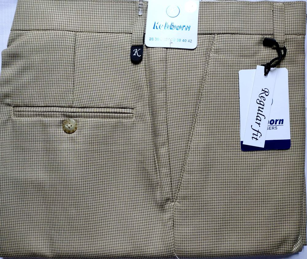 Men Regular Fit Tan Checked Formal Trousers size 34