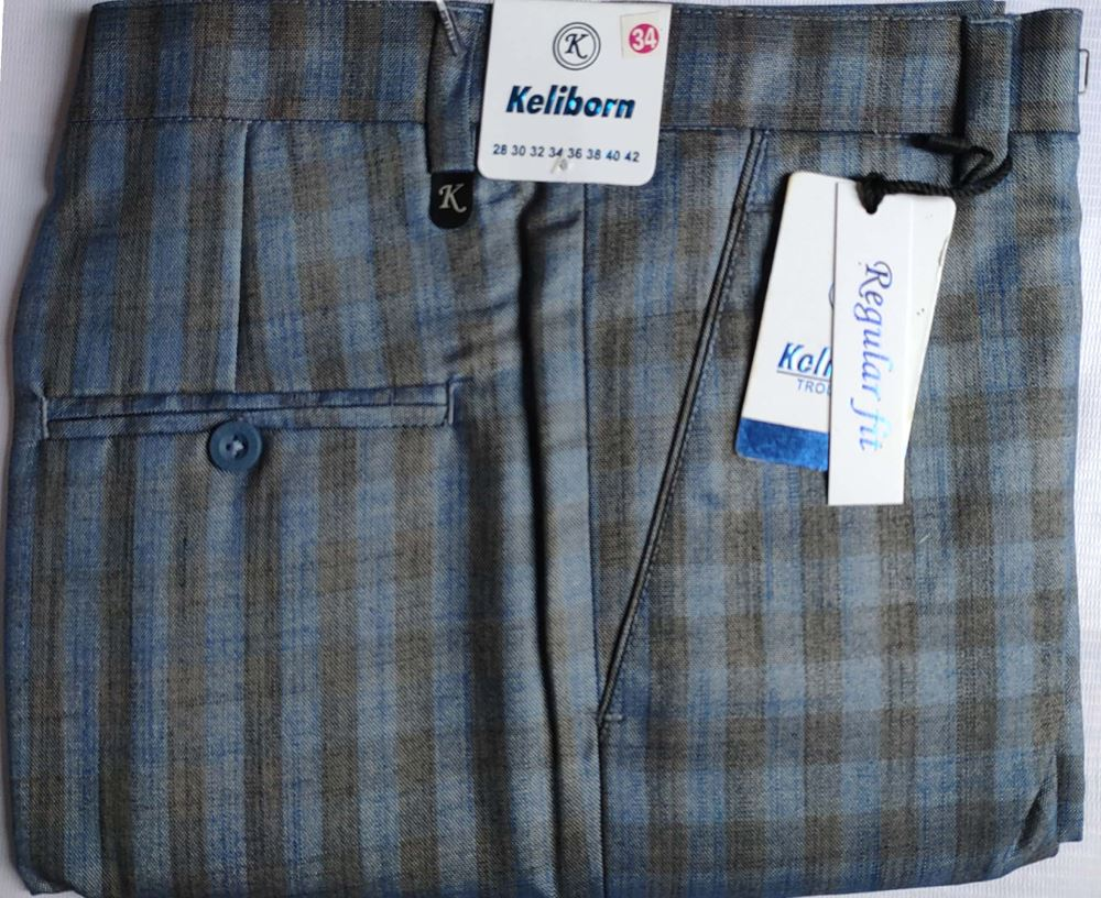 Men Regular Fit Blue or Brown Checked Formal Trousers size 34