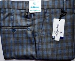 Men Regular Fit Blue or Brown Checked Formal Trousers size 36