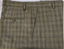 Men Regular Fit Khaki Checked Formal Trousers size 38
