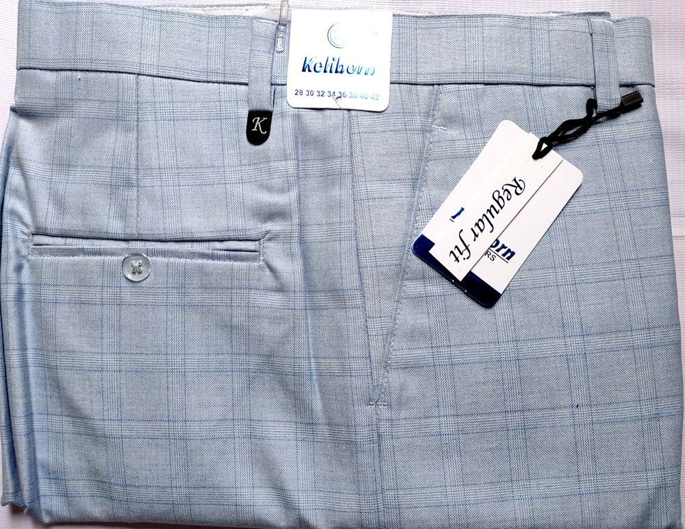 Men Regular Fit Sky Blue Checked Formal Trousers size 38