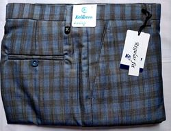 Men Regular Fit Blue or Brown Checked Formal Trousers size 38