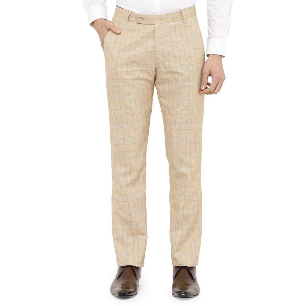 Men's Viscose Flat Front Tan Checks Trouser size 32