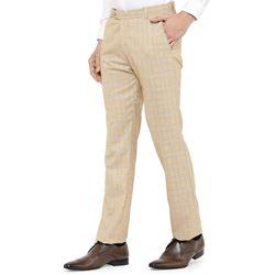 Men's Viscose Flat Front Tan Checks Trouser size 36