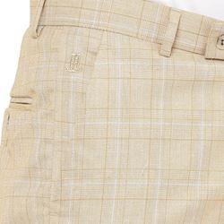 Men's Viscose Flat Front Tan Checks Trouser size 38