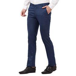 Men's Viscose Flat Front Charcoal Checks Trouser size 32