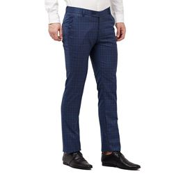 Men's Viscose Flat Front Charcoal Checks Trouser size 36