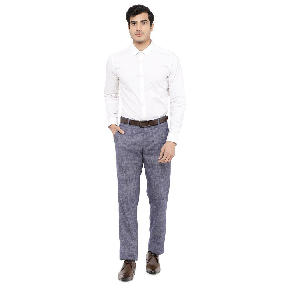Men's Viscose Flat Front Blue Checks Trouser size 32