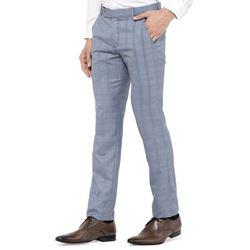 Men's Viscose Flat Front Grey Checks Trouser size 32