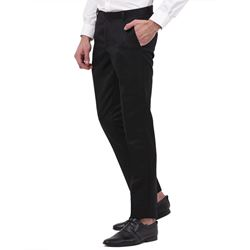Men's Viscose Flat Front Black Trouser size 34
