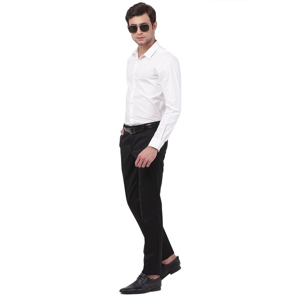 Men's Viscose Flat Front Black Trouser size 36