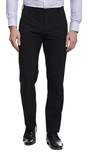 Men's Viscose Flat Front Z Black 4 Stretch Trouser size 30